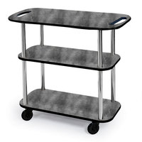 Geneva 36104 Rectangular 3 Shelf Laminate Tableside Service Cart with Handle Cutouts and Pewter Brush Finish - 16 inch x 42 3/8 inch x 35 1/4