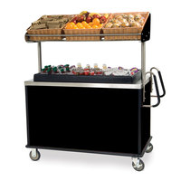 Lakeside 668 Stainless Steel Vending Cart with Insulated Polyethylene Ice Bin, Overhead Shelf, and Black Finish - 28 1/2 inch x 54 3/4 inch x 67 inch
