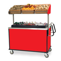 Lakeside 668 Stainless Steel Vending Cart with Insulated Polyethylene Ice Bin, Overhead Shelf, and Red Finish - 28 1/2 inch x 54 3/4 inch x 67 inch