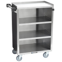 Lakeside 815 4 Shelf Medium Duty Stainless Steel Utility Cart with Enclosed Base and Black Finish - 16 7/8 inch x 28 1/4 inch x 37 1/2 inch