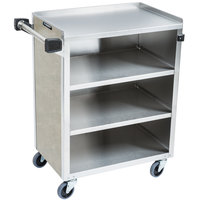 Lakeside 615 4 Shelf Standard Duty Stainless Steel Utility Cart with Enclosed Base and Beige Suede Finish - 16 1/2 inch x 27 3/4 inch x 32 3/4 inch