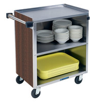 Lakeside 622W 3 Shelf Medium Duty Stainless Steel Utility Cart with Enclosed Base and Walnut Finish - 19 inch x 30 3/4 inch x 33 7/8 inch