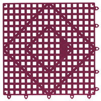 San Jamar VM5280WN-12 Versa-Mat® 12 inch x 12 inch Wine Colored Interlocking Bar Matting - 12 / Case