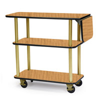Geneva 36102 Rectangular 3 Shelf Laminate Tableside Service Cart with 10 inch Drop Leaf and Amber Maple Finish - 16 inch x 48 inch x 35 1/4