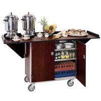 Lakeside 675 Stainless Steel Drop-Leaf Beverage Service Cart with 3 Shelves and Walnut Finish - 44 1/4 inch x 24 inch x 38 1/4 inch