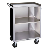 Lakeside 810 3 Shelf Medium Duty Stainless Steel Utility Cart with Enclosed Base and Black Finish - 16 7/8 inch x 28 1/4 inch x 34 1/2 inch