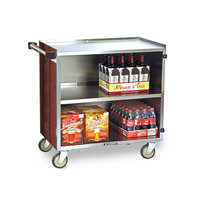 Lakeside 644 3 Shelf Medium Duty Stainless Steel Utility Cart with Enclosed Base and Red Maple Finish - 22 1/2 inch x 39 1/4 inch x 37 3/8 inch