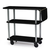 Geneva 36102-08 Rectangular 3 Shelf Laminate Tableside Service Cart with 10 inch Drop Leaf and Ebony Wood Finish - 16 inch x 48 inch x 35 1/4