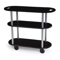 Geneva 36204 Oval 3 Shelf Laminate Table Side Service Cart with Handle Cutouts and Black Finish - 16 inch x 42 3/8 inch x 35 1/4