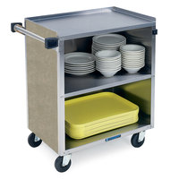 Lakeside 622 3 Shelf Medium Duty Stainless Steel Utility Cart with Enclosed Base and Beige Suede Finish - 19 inch x 30 3/4 inch x 33 7/8 inch