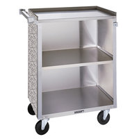 3 Shelf Medium Duty Stainless Steel Utility Cart with Enclosed Base and Gray Sand Finish - 16 7/8 inch x 28 1/4 inch x 34 1/2 inch