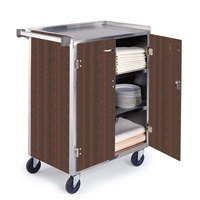 Lakeside 815 4 Shelf Medium Duty Stainless Steel Utility Cart with Enclosed Base and Walnut Finish - 16 7/8 inch x 28 1/4 inch x 37 1/2 inch