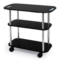 Geneva 36104 Rectangular 3 Shelf Laminate Tableside Service Cart with Handle Cutouts and Black Finish - 16 inch x 42 3/8 inch x 35 1/4