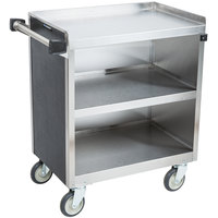 Lakeside 822 3 Shelf Heavy Duty Stainless Steel Utility Cart with Enclosed Base and Black Finish - 19 1/2 inch x 31 1/4 inch x 34 1/2 inch