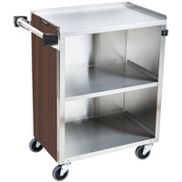 Lakeside 610W 3 Shelf Standard Duty Stainless Steel Utility Cart with Enclosed Base and Walnut Finish - 16 1/2 inch x 27 3/4 inch x 32 3/4 inch