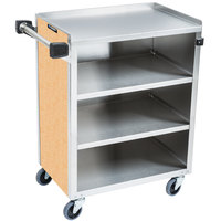 Lakeside 615 4 Shelf Standard Duty Stainless Steel Utility Cart with Enclosed Base and Hard Rock Maple Finish - 16 1/2 inch x 27 3/4 inch x 32 3/4 inch