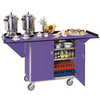 Lakeside 675 Stainless Steel Drop-Leaf Beverage Service Cart with 3 Shelves and Purple Finish - 44 1/4 inch x 24 inch x 38 1/4 inch