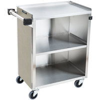 Lakeside 610BS 3 Shelf Standard Duty Stainless Steel Utility Cart with Enclosed Base and Beige Suede Finish - 16 1/2 inch x 27 3/4 inch x 32 3/4 inch