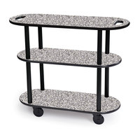 Geneva 36204 Oval 3 Shelf Laminate Table Side Service Cart with Handle Cutouts and Gray Sand Finish - 16 inch x 42 3/8 inch x 35 1/4