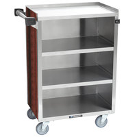 Lakeside 815 4 Shelf Medium Duty Stainless Steel Utility Cart with Enclosed Base and Red Maple Finish - 16 7/8 inch x 28 1/4 inch x 37 1/2 inch