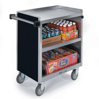 Lakeside 844 3 Shelf Heavy Duty Stainless Steel Utility Cart with Enclosed Base and Black Finish - 22 1/2 inch x 39 5/16 inch x 37 inch