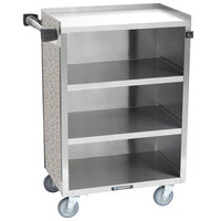 Lakeside 815 4 Shelf Medium Duty Stainless Steel Utility Cart with Enclosed Base and Gray Sand Finish - 16 7/8 inch x 28 1/4 inch x 37 1/2 inch