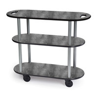 Geneva 36204 Oval 3 Shelf Laminate Table Side Service Cart with Handle Cutouts and Pewter Brush Finish - 16 inch x 42 3/8 inch x 35 1/4