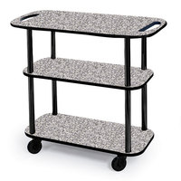 Geneva 36104 Rectangular 3 Shelf Laminate Tableside Service Cart with Handle Cutouts and Gray Sand Finish - 16 inch x 42 3/8 inch x 35 1/4