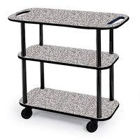 Geneva 36104-01 Rectangular 3 Shelf Laminate Tableside Service Cart with Handle Cutouts and Gray Sand Finish - 16 inch x 42 3/8 inch x 35 1/4