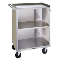 Lakeside 810 3 Shelf Medium Duty Stainless Steel Utility Cart with Enclosed Base and Beige Suede Finish - 16 7/8 inch x 28 1/4 inch x 34 1/2 inch