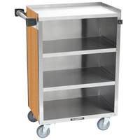 Lakeside 815LM 4 Shelf Medium Duty Stainless Steel Utility Cart with Enclosed Base and Light Maple Finish - 16 7/8 inch x 28 1/4 inch x 37 1/2 inch