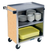 Lakeside 622HRM 3 Shelf Medium Duty Stainless Steel Utility Cart with Enclosed Base and Hard Rock Maple Finish - 19 inch x 30 3/4 inch x 33 7/8 inch