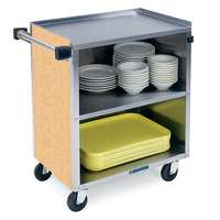 Lakeside 622 3 Shelf Medium Duty Stainless Steel Utility Cart with Enclosed Base and Hard Rock Maple Finish - 19 inch x 30 3/4 inch x 33 7/8 inch