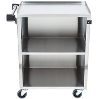 Lakeside 610 3 Shelf Standard Duty Stainless Steel Utility Cart with Enclosed Base and Light Maple Finish - 16 1/2 inch x 27 3/4 inch x 32 3/4 inch