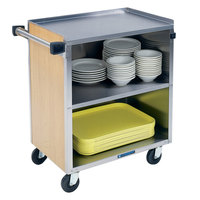 Lakeside 622LM 3 Shelf Medium Duty Stainless Steel Utility Cart with Enclosed Base and Light Maple Finish - 19 inch x 30 3/4 inch x 33 7/8 inch