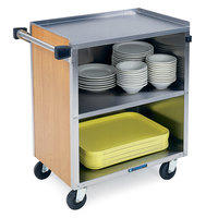 Lakeside 622 3 Shelf Medium Duty Stainless Steel Utility Cart with Enclosed Base and Light Maple Finish - 19 inch x 30 3/4 inch x 33 7/8 inch