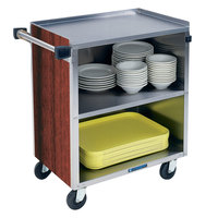 Lakeside 622RM 3 Shelf Medium Duty Stainless Steel Utility Cart with Enclosed Base and Red Maple Finish - 19 inch x 30 3/4 inch x 33 7/8 inch