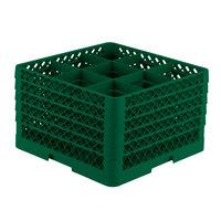 Vollrath TR10FFFFF Traex® Full-Size Green 9-Compartment 11 inch Glass Rack