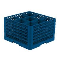 Vollrath TR10FFFFF Traex® Full-Size Royal Blue 9-Compartment 11 inch Glass Rack