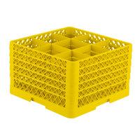 Vollrath TR10FFFFF Traex® Full-Size Yellow 9-Compartment 11 inch Glass Rack