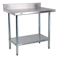 Regency 18 Gauge 24 inch x 36 inch 304 Stainless Steel Commercial Work Table with 4 inch Backsplash and Undershelf