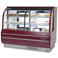 Turbo Air TCGB-60-CO Red 60 inch Curved Glass Dual Dry / Refrigerated Bakery Display Case - 18.4 Cu. Ft.