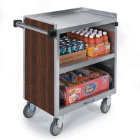Lakeside 844 3 Shelf Heavy Duty Stainless Steel Utility Cart with Enclosed Base and Walnut Finish - 22 1/2 inch x 39 5/16 inch x 37 inch