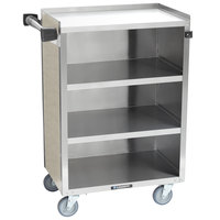 Lakeside 815 4 Shelf Medium Duty Stainless Steel Utility Cart with Enclosed Base and Beige Suede Finish - 16 7/8 inch x 28 1/4 inch x 37 1/2 inch