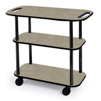 Geneva 36104 Rectangular 3 Shelf Laminate Tableside Service Cart with Handle Cutouts and Beige Suede Finish - 16 inch x 42 3/8 inch x 35 1/4