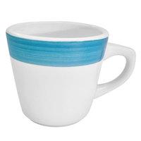 CAC R-1-BLU Rainbow 7.5 oz. Blue Rolled Edge Stoneware Coffee Cup - 36/Case