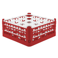 Vollrath 52769 Signature Full-Size Red 16-Compartment 7 11/16 inch X-Tall Plus Glass Rack
