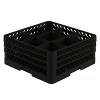 Vollrath TR10FFA Traex® Full-Size Black 9-Compartment 7 7/8 inch Glass Rack with Open Rack Extender On Top