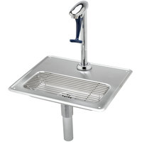 T&S B-1230 Water Station with Pedestal Type Glass Filler, 18 Gauge Stainless Steel Drip Pan, 1/4 inch Tailpiece for Copper Tubing, and 1 1/4 inch Drain