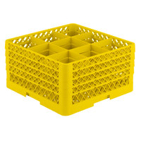 Vollrath TR10FFFA Traex® Full-Size Yellow 9-Compartment 9 7/16 inch Glass Rack with Open Rack Extender On Top